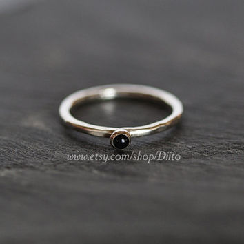 Size 6.5, Sterling Silver, Handmade Jewelry, Hammered Onyx Ring, Stacking Rings, Simple Rings, Stone Ring, Ready To Ship!