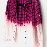 Vintage Flannel Bleached  pink and black plaid by MFjewels on Etsy