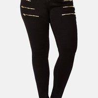 City Chic Zip Detail Stretch Skinny Jeans (Black) (Plus Size)