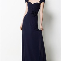 Sweetheart Neckline Cap Sleeves Chiffon with Flower Bridesmaid Dress BD0399