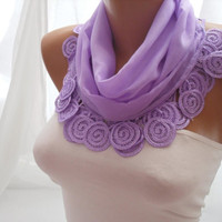 Lilac Cotton Shawl/Scarf  Headband  Cowl with Lace Edge  by DIDUCI