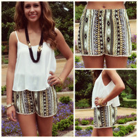 Meet Me In Fiji Olive Tribal Pom Pom Shorts