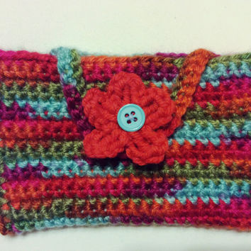 Crocheted Small Cellphone Purse - Cellphone Cozy - Cell Phone Cover  - Cellphone Sleeve - Cellphone Cover