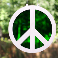 Peace Symbol Suncatcher and Hanging Wall Art - Bright Green Peace Sign