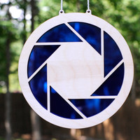 Aperture Science Portal Logo Suncatcher and Gamer Geek Wall Art