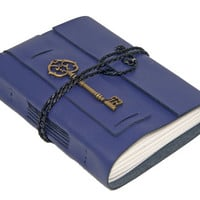 Purple Leather Wrap Journal with Lined Paper and Key Charm Bookmark