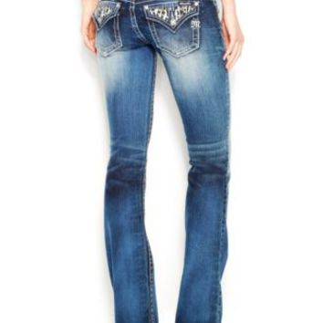 Miss Me Rhinestone Wing Bootcut Jeans