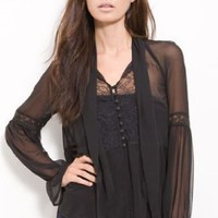 "Free People ""Put a Bow on It"" Black & Lace Blouse Ties at Neck"