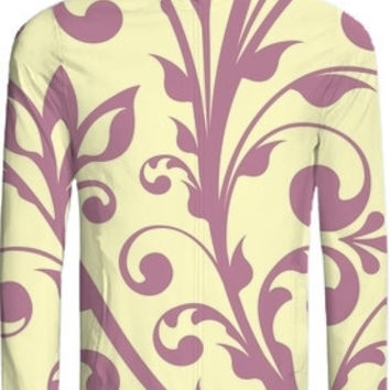 Elegant Flower swirls yellow violet created by circusvalley | Print All Over Me