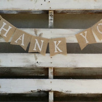 Thank You Burlap Banner, Rustic Wedding Decor, Wedding Banner, Photo Prop