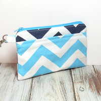 Small Clutch - Aqua and Navy - Cute Clutch Bag - Summer Clutch - Chevron Clutch - Clutch Bag - Teen Bag - Small Zipper Clutch - Girls Clutch