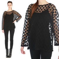 Vintage 80s // polka dot shirt // sheer black // by shopCOLLECT