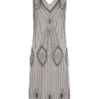 UK10 US6 Grey Navy Vintage inspired 1920s vibe Flapper Gatsby Beaded Robe Charleston Sequin Art Deco Mod Wedding Party Dress New Hand Made