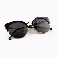Half Frame Angular Cat Eye Sunglasses - Choies.com