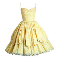 1950's Lemon-Yellow Beaded Floral-Lace Tiered Full Scalloped Party Dress