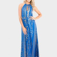 Cobalt Blue Sequin Maxi Dress