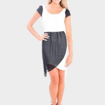 Black/ White Mini Dress with Draping