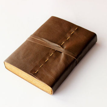 LEATHER  brown  journal, diary, notebook,  travel journal, dyed paper