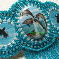 Rosette beaded Dolphins and Orcas barrette
