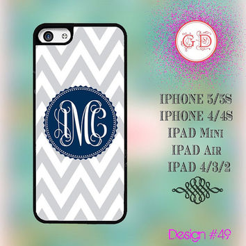 USA Custom Grey Chevron Pattern Monogram @ IPhone 5 / 5S Case IPhone 4 / 4S Case , IPad Air , IPad Mini , Ipad 4 Smart Cover #49