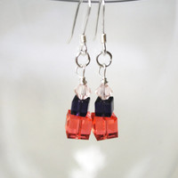 Sterling Silver Earrings featuring Peach and Purple by Meghanlee5