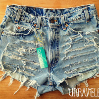 Shredded Levis High Waist Destroyed Shorts by UnraveledClothing