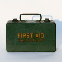 Vintage First Aid Kit Vintage Medical Dark by RestorationHarbor