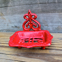 Bright Red Soap Dish/ Business Card Holder  by AquaXpressions
