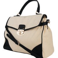 Contrast Canvas Satchel | LOVE21 - 1000042629