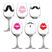 Vinyl Decals Mustache Party with Lady&#x27;s lips