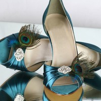 Peacock Teal Shoes 25 Heel Choose Your Own Rhinestone by Parisxox
