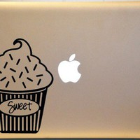 Cupcake Vinyl Decal for Macbook  PC MAC Laptop Window or Wall Decor | MakeItMineDesigns - Techcraft on ArtFire