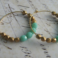 Gold Hoop Earrings Mint and Gold Faceted Glass and by leprintemps