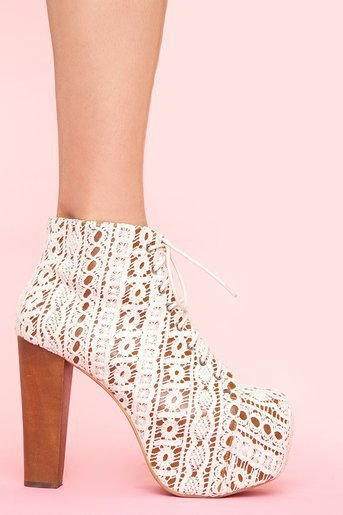 Lita Platform Boot in Ivory Crochet