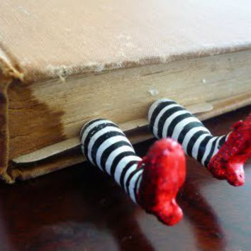 Ruby Slippers/Wicked Witch Bookmark - POTTERY, CERAMICS, POLYMER CLAY