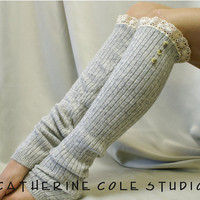 Cashmere feel 3 wood button lace leg by CatherineColeStudio
