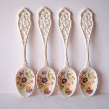 1989 Avon Ceramic Pansy Flower Spoons by VintageEye on Etsy