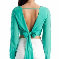 cropped tie-back top &amp;#36;31.10 in IVORY MINT TOMATO - New Tops | GoJane.com