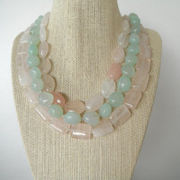Pink Rose Quartz and Sea Green Stone Triple by SycamoreSticks
