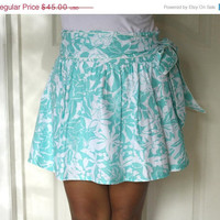 ON SALE White and Turquoise Blue Mini Skirt with by LoNaDesign