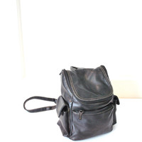 90s GRUNGE black leather backpack