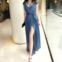 V Neck Maxi Dress with High Split 050829 D0624