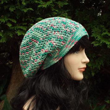 Sea Green and Pink Slouch Beanie - Womens Slouchy Crochet Hat - Oversized Slouchy Beanie - Hipster Hat - Baggy Beanie - Cotton Slouchy Hat
