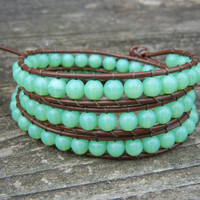 Beaded Leather Wrap Bracelet 3 Wrap with Round Green Czech Glass Beads on Brown Leather Summer Bracelet