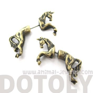 3D Fake Gauge Realistic Unicorn Horse Animal Stud Earrings in Brass