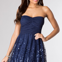 Short Strapless Sequin Embellished Dress
