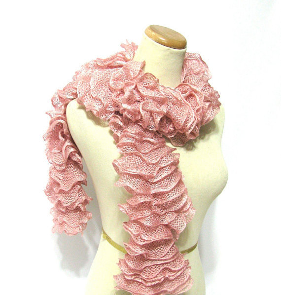 Hand Knit Ruffled Scarf  Rose Pink by ArlenesBoutique on Etsy
