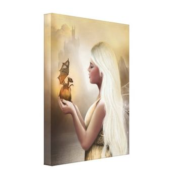 Birth of a Dragon - Fantasy fairy canvas print