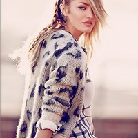 Free People Womens Leopard Cardigan -