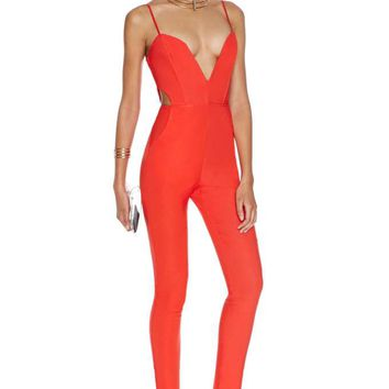 Nasty Gal Midnight Run Jumpsuit - Tomato